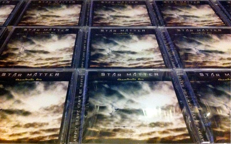 """image which shows some copies of Star Matter debut album """"ChemTrails_Era"""" featuring Luigi Maria Mennella (vocals) of some tracks"""